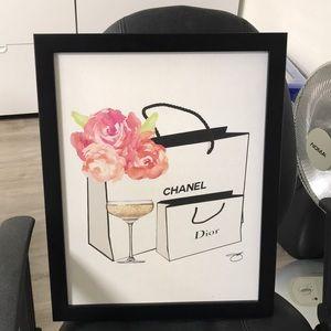 Chanel Dior Shopping Bag Champagne Print
